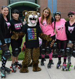 Jerry the Jaguar with students