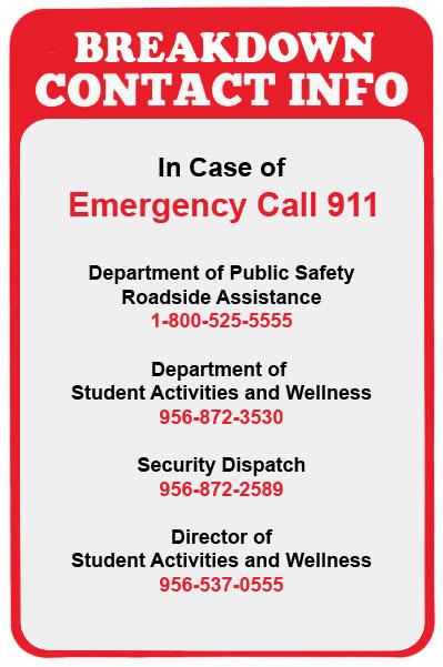Breakdown contact info