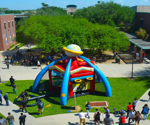 Event at Pecan campus with inflatable