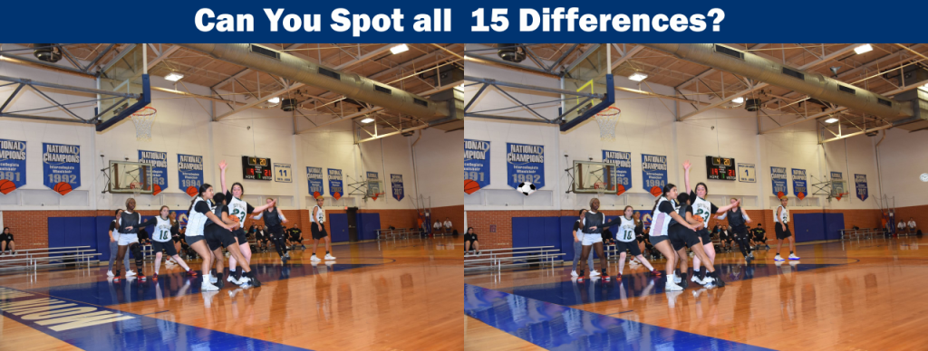 Spot the differences game image of students playing basketball